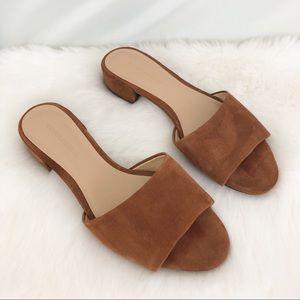 Banana Republic Brown Suede Slides Sandals Sz 6.5
